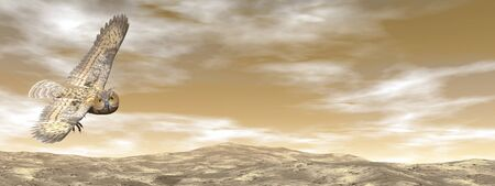 strigiformes: Brown owl flying in the sky by sunset - 3D render