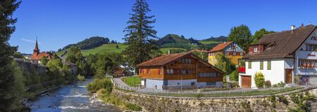 appenzeller: Appenzell landscape and houses by beautiful day, Switzerland