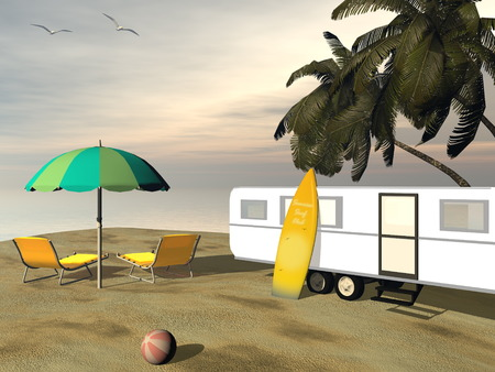 palmtrees: Caravan holidays at the beach, relaxing and surfing - 3D render