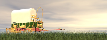 pioneer: Chuckwagon on the grass by sunset - 3D render Stock Photo