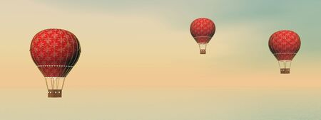 hot: Three vintage red hot air balloons by sunset - 3D render