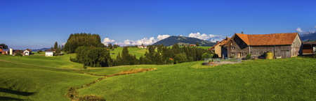 appenzeller: Appenzell landscape and farmhouse by beautiful day, Switzerland
