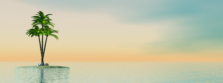 panoramic beach: Palm trees and coconuts on an island in the middle of the ocean by sunset - 3D render Stock Photo