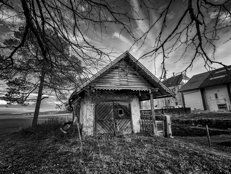 coutryside: Small cottage surrounded with trees in the coutryside in black and white