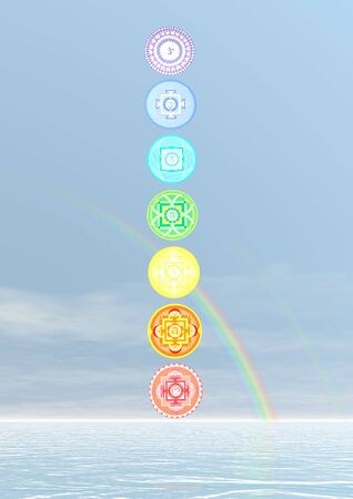 3d om: Seven chakra symbols column and rainbow in blue background - 3D render
