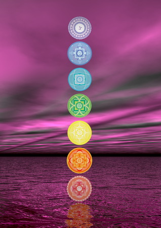 spirituality therapy: Seven chakra symbols column in violet boreal aurora background - 3D render