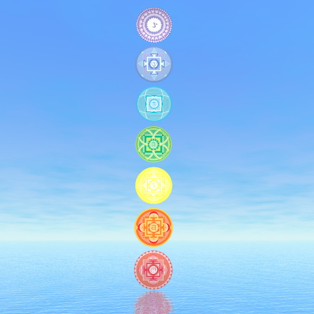 3d om: Seven chakra symbols column in blue background - 3D render