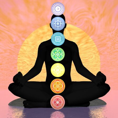 3d om: Seven chakra symbols column on black human being in orange sunset background with big sun - 3D render Stock Photo