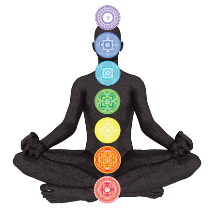 3d om: Seven chakra symbols column on black human being isolated in white background - 3D render