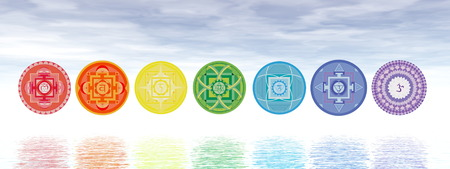 chakra: Seven chakra symbols line upon water in blue background - 3D render Stock Photo