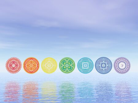 3d om: Seven chakra symbols line upon water in blue background - 3D render Stock Photo