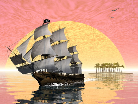 old ship: Pirate ship leaving the island by sunset - 3D render
