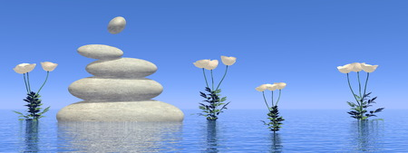 poppies: White poppies next to balanced stones upon water by day - 3D render