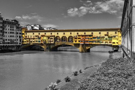 firenze: Ponte vecchio in black and white background, Florence or Firenze, Italia