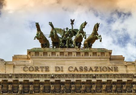 quadriga: Quadriga upon Corte di cassazione, the Supreme Court of Cassation by cloudy day, Rome, Italy Stock Photo