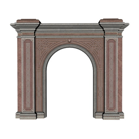 architectural styles: Colorful arch isolated in white background - 3D render