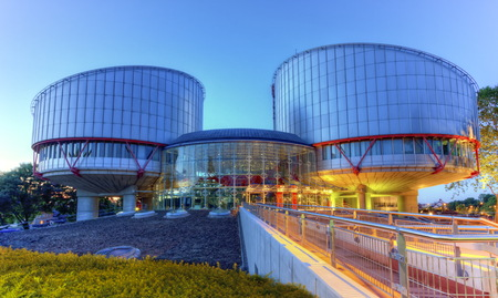 European Court of Human Rights building in Strasbourg by night, France, HDR Foto de archivo