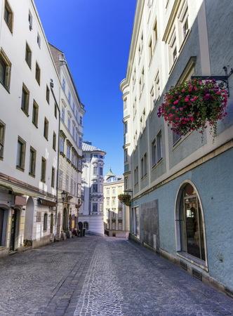 linz: Street in old city by day, Linz, Austria Stock Photo