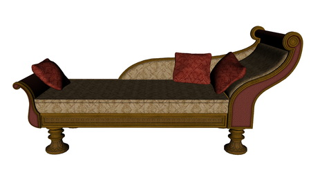 boudoir: Meridienne, vintage sofa or bed isolated in white background - 3D render Stock Photo