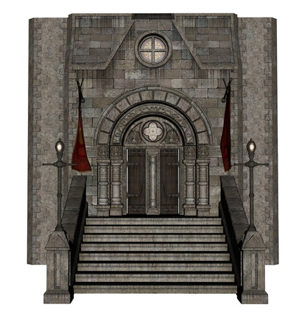 history building: Beautiful detailed castle entrance isolated in white background - 3D render