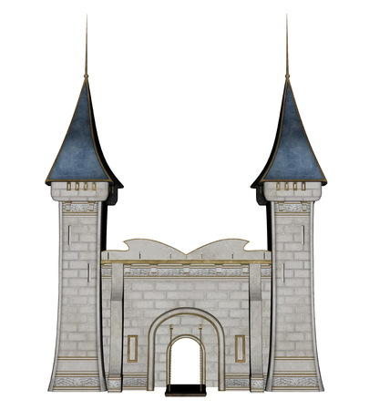 royal house: Beautiful detailed castle entrance isolated in white background - 3D render