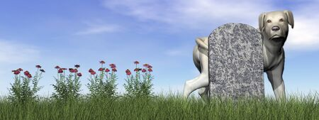 attachement: Tombstone with labrador dog by day - 3D render