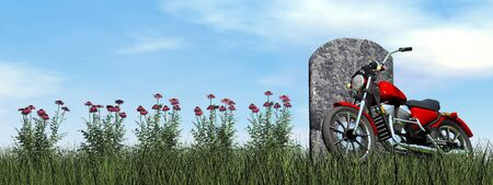 motorcyclist: Motorcyclist tombstone by cloudy day - 3D render