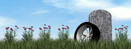 grave stone: Motorcyclist or driver tombstone by cloudy day - 3D render Stock Photo