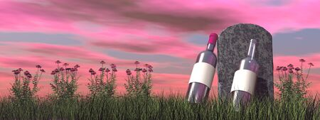 Alcoholic tombstone by colorful sunset - 3D render Stock Photo