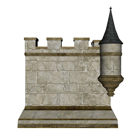 turret: Castle wall and tower isolated in white background - 3D render