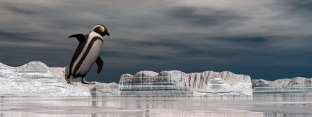 jumping into water: Penguin jumping into the water from the iceberg - 3D render