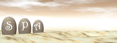 sand beach: SPA letters on stones in the desert by brown sunset - 3d Render Stock Photo