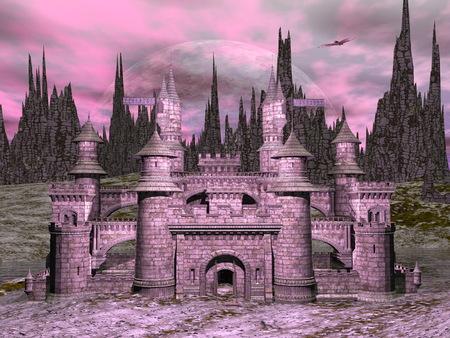 Belle château détaillée en face de la grande lune de nuit rose - 3D render