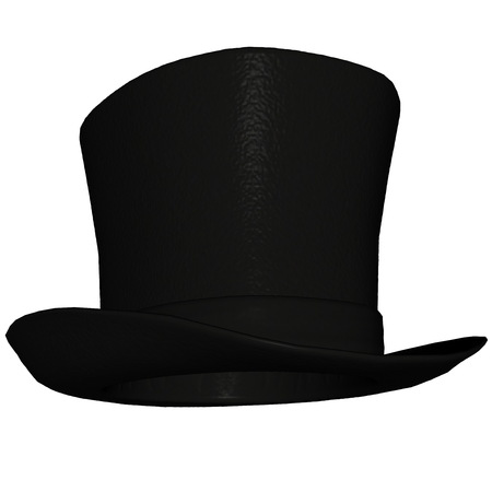 topper: Black top-hat or topper isolated in white background - 3D render Stock Photo