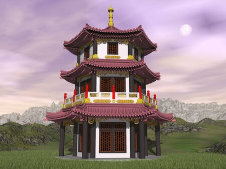 Pagoda in nature by sunset with full moon - 3D render