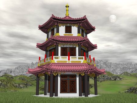 3d temple: Pagoda in nature by sunset with full moon - 3D render