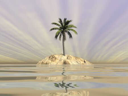 Palm tree on an island in the middle of the ocean by sunset - 3D render Stock Photo