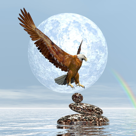 buzzard: Eagle landing on balanced stones by day with full moon and rainbow - 3D render
