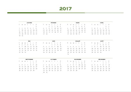 calendrier: 2017 year simple calendar in french language, isolated on white background Stock Photo