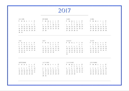 calendrier: 2017 year simple blue calendar in french language, isolated on white background