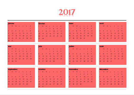 calendrier: 2017 year simple red calendar in french language, isolated on white background