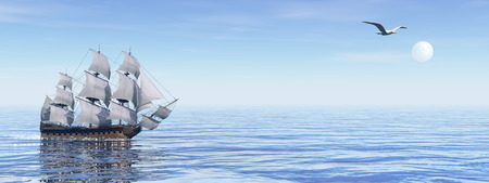 old ship: Beautiful old ship HSM Victory floating on the ocean by blue day - 3D render Stock Photo
