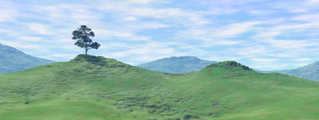 rural scene: Single tree on green hills by cloudy day - 3D render Stock Photo