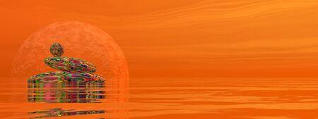 zen stones: Zen stones upon water in red background with rays and full moon - 3D render Stock Photo