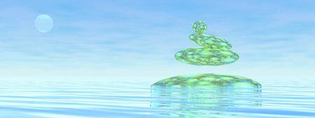 zen stones: Zen stones upon water in blue background - 3D render