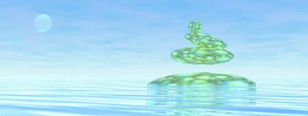 Zen stones upon water in blue background - 3D render