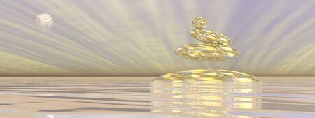 zen stones: Zen stones upon water in gray background with rays and full moon - 3D render