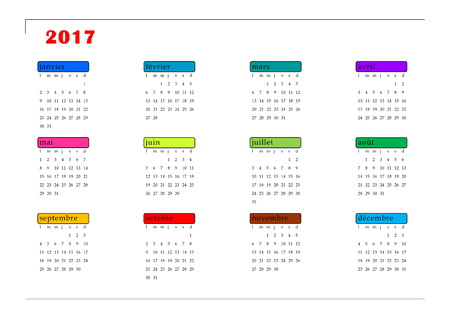 calendrier: Simple colorful 2017 year calendar in french language, isolated on white background