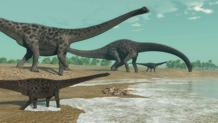 diplodocus: Diplodocus dinosaurs looking for water in the desert by day - 3D render