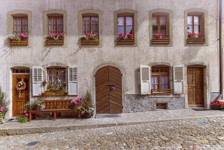 gruyere: Facade of a historical house in Gruyere village, Switzerland